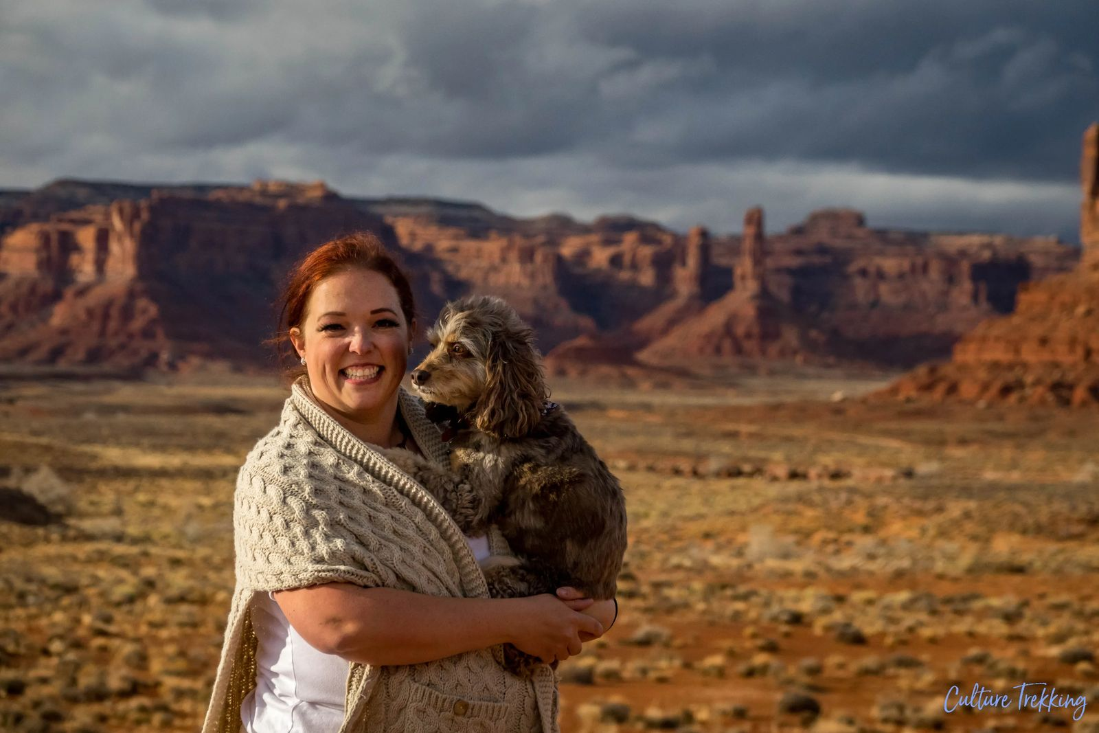 Janiel with dog zoey at the valley of the gods southern utah hidden gems